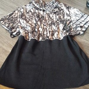 Python Prnt Lane Bryant Mandarin Collar Blouse 18W